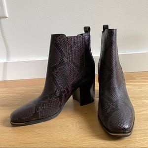 Dark red snake printed leather bootie
